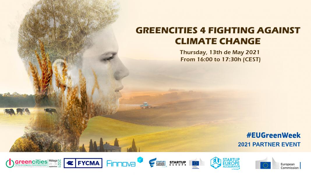 """Banner de """"Greencities 4 Fighting Against Climate Change"""", un evento online desarrollado en el marco de la EU Green Week"""